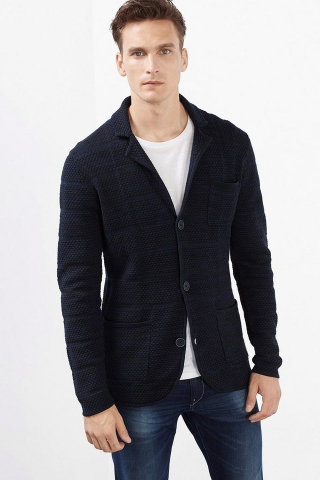 ESPRIT COLLECTION Strick Blazer mit Struktur, 100% Baumwolle in BLACK