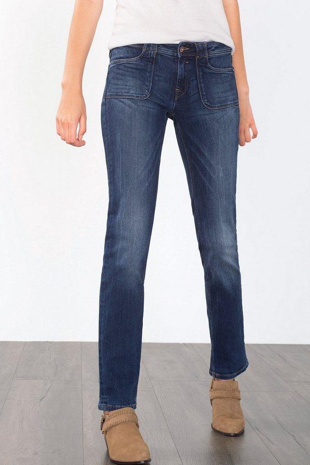 EDC Stretch-Jeans mit Klappentaschen in BLUE DARK WASHED