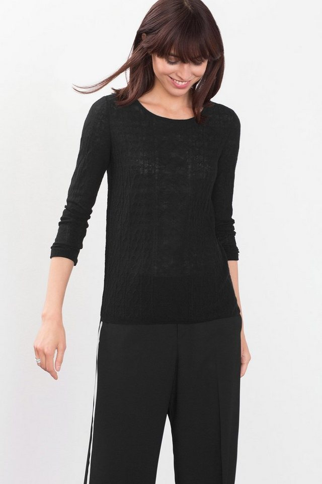 ESPRIT COLLECTION Feinstrick-Sweater aus Wollmix mit Muster in BLACK
