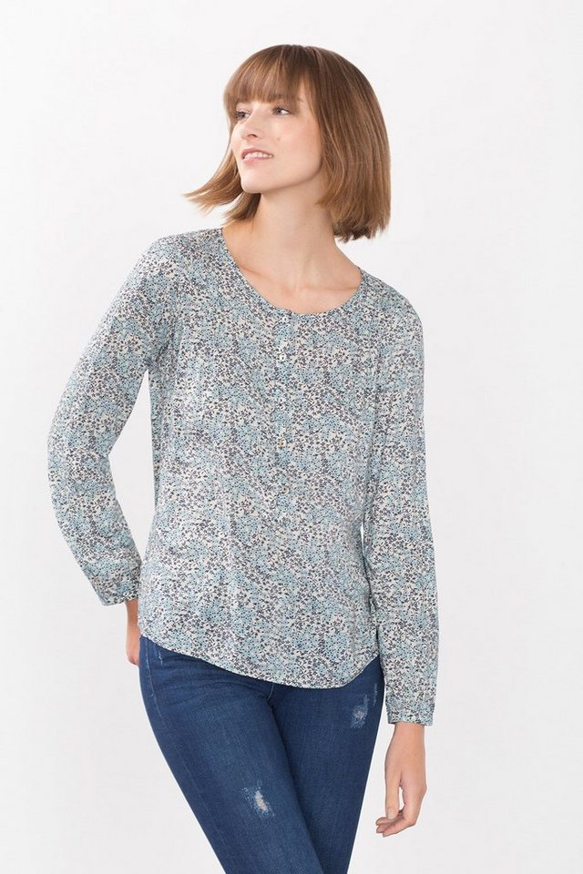 ESPRIT CASUAL Fließende Print-Bluse im Henley-Stil in LIGHT AQUA GREEN