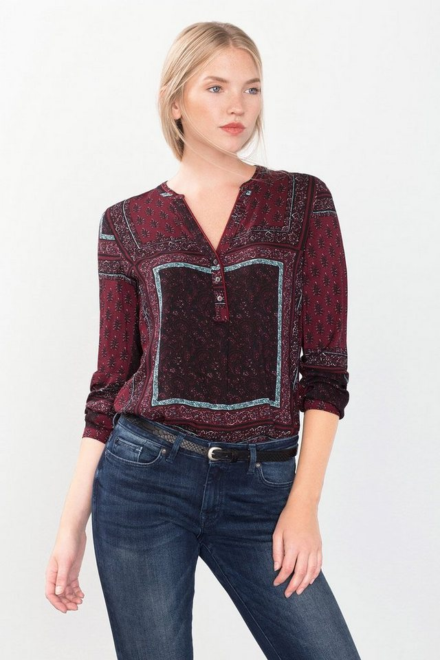 ESPRIT CASUAL Fließende Bluse mit Allover-Print in BORDEAUX RED