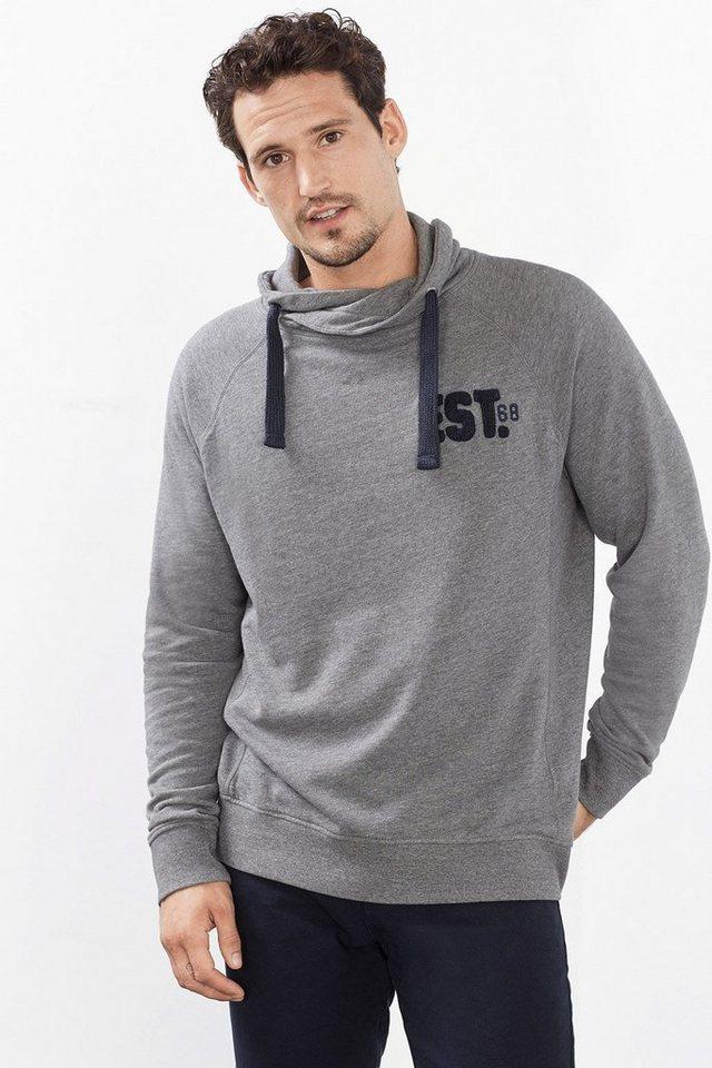 ESPRIT CASUAL Baumwoll Sweatshirt mit Schalkragen in MEDIUM GREY
