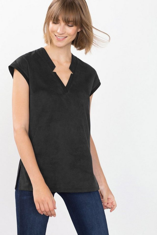 ESPRIT CASUAL Velours Fashion T-Shirt in BLACK