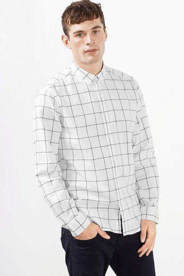 ESPRIT CASUAL Button-Down Karohemd, 100% Baumwolle in OFF WHITE