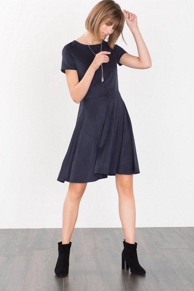 ESPRIT CASUAL Samtig weiches Velours-Kleid in NAVY