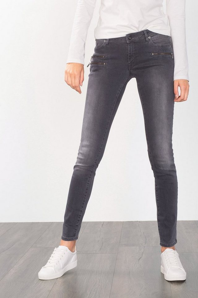 EDC Ankle-Stretch-Jeans mit Zippern in GREY MEDIUM WASHED