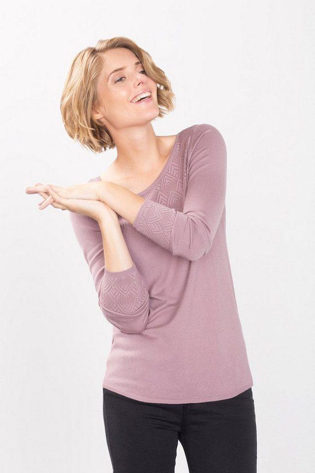 ESPRIT COLLECTION Feinstrick-Sweater mit Ajour-Akzenten in DARK OLD PINK