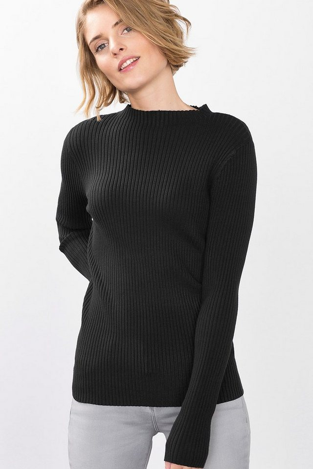 ESPRIT COLLECTION High Powered Rib-Sweater in BLACK