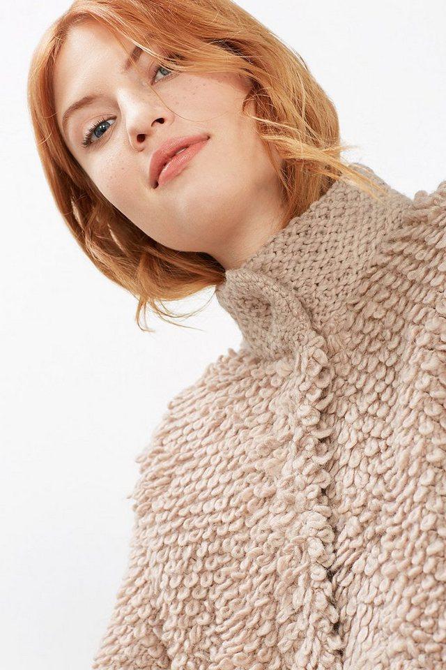 EDC Schlaufenstrick-Cardigan mit Wolle in NUDE