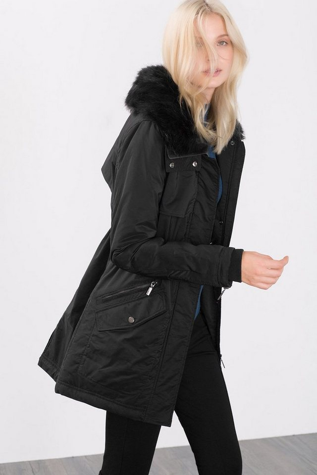 ESPRIT COLLECTION Wattierter Shiny Parka mit Webpelzkragen in BLACK