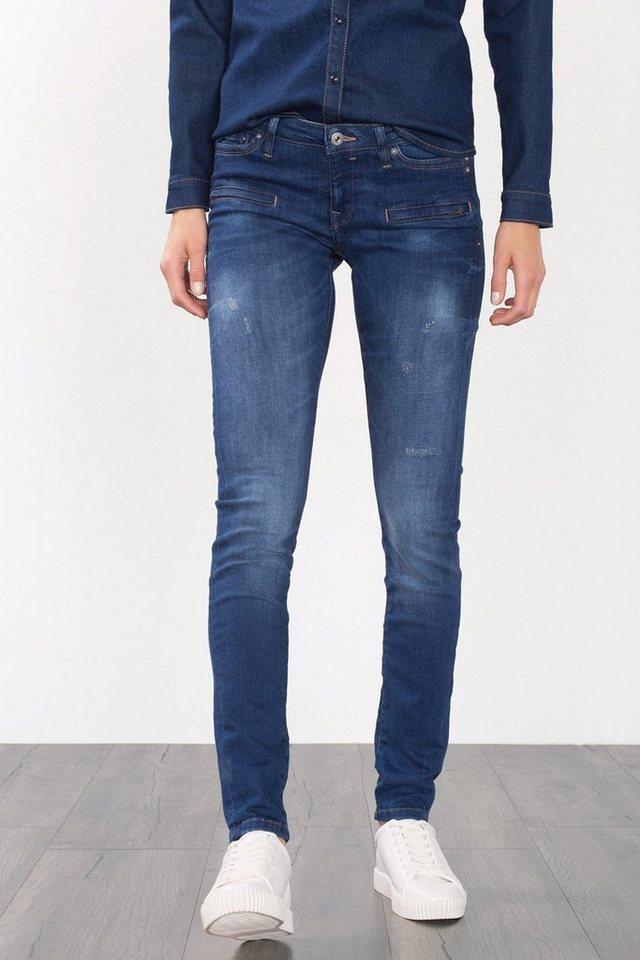 EDC Stretchige Jeans mit Zier-Taschen in BLUE MEDIUM WASHED