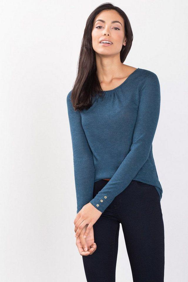 ESPRIT COLLECTION Wooly Viskose Shirt mit Zierknöpfen in PETROL BLUE