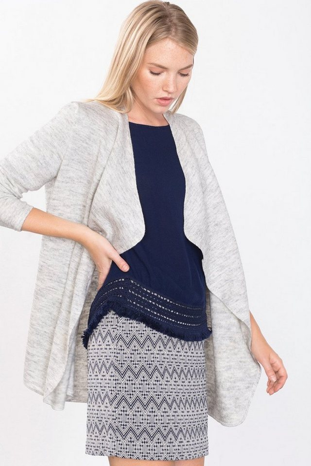 EDC Offener Cardigan mit Schurwolle in LIGHT GREY