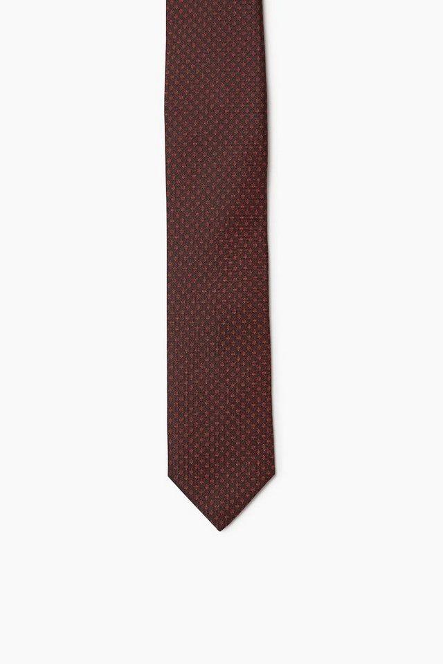 ESPRIT COLLECTION Krawatte mit Rautenmuster, 100% Seide in RED