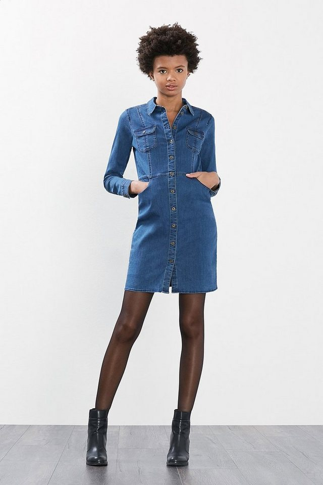 EDC Mini-Kleid aus Stretch-Denim in BLUE DARK WASHED
