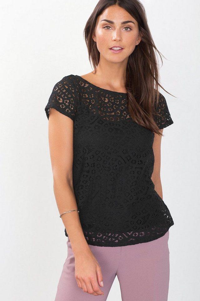 ESPRIT COLLECTION Shirt aus Spitze mit Spaghettiträger-Top in BLACK