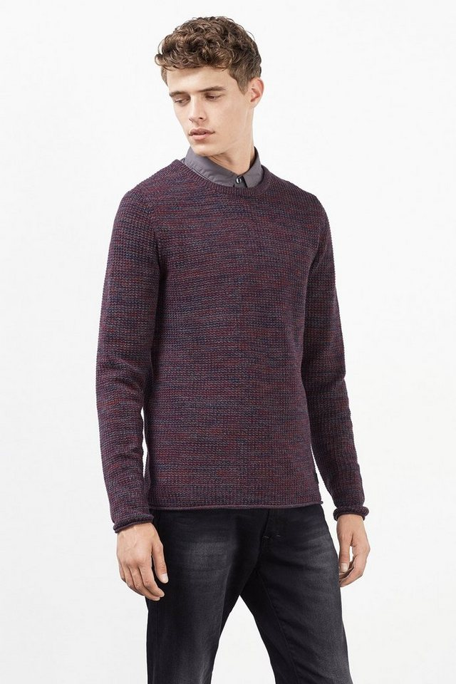 EDC Strukturierter Pulli, 100% Baumwolle in BORDEAUX RED