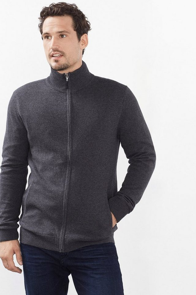 ESPRIT CASUAL Zipp-Cardigan aus Baumwolle mit Kaschmir in DARK GREY
