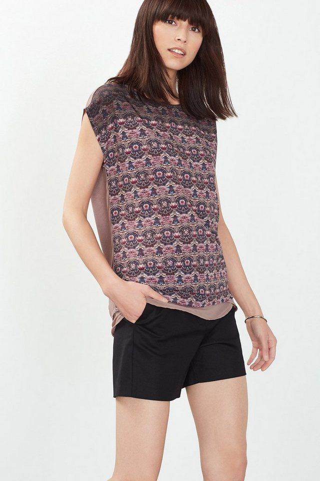 ESPRIT COLLECTION Fließendes Print-Shirt im Materialmix in MAUVE