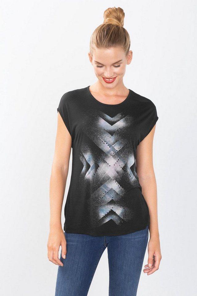 ESPRIT COLLECTION Fließendes Print Jersey-Shirt mit Nieten in BLACK