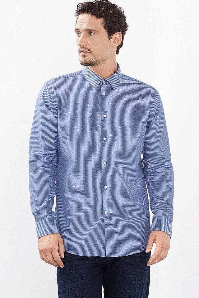 ESPRIT COLLECTION Baumwollhemd mit Streifen und Struktur in BLUE