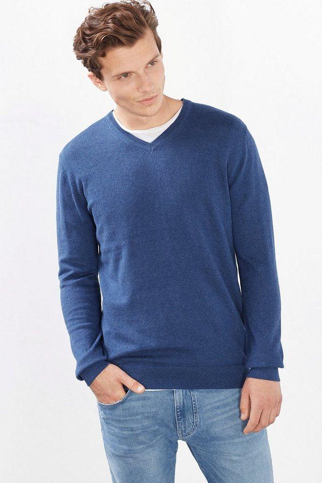 ESPRIT CASUAL Basic Pulli aus Baumwolle mit Kaschmir in DARK BLUE