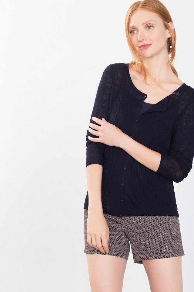 ESPRIT COLLECTION Feinstrick-Cardigan aus Wollmix mit Muster in NAVY