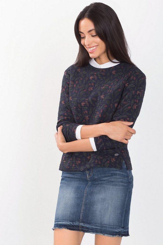EDC Strukturiertes Sweatshirt mit Print in DARK BLUE