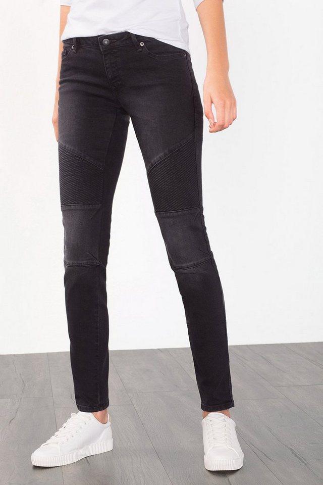 EDC Stretchige Jeans im Biker-Style in BLACK DARK WASHED