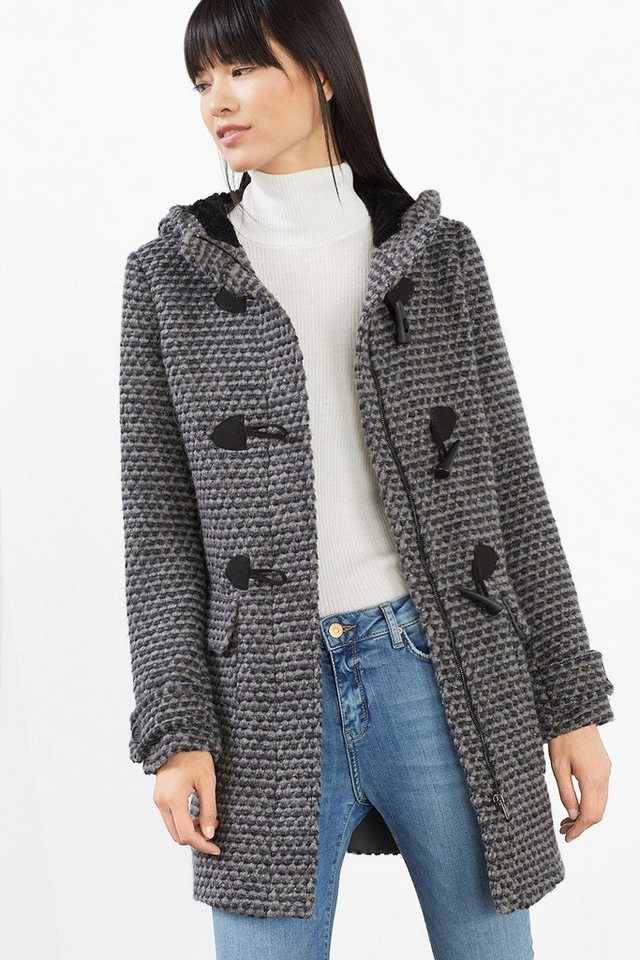 ESPRIT CASUAL Dufflecoat mit Minimal-Dessin, Woll-Mix in ANTHRACITE