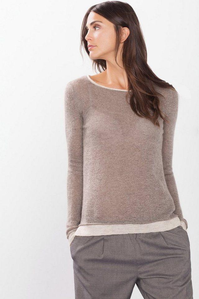 ESPRIT CASUAL Leichter Pulli aus Woll-Mix mit Mohair in TAUPE