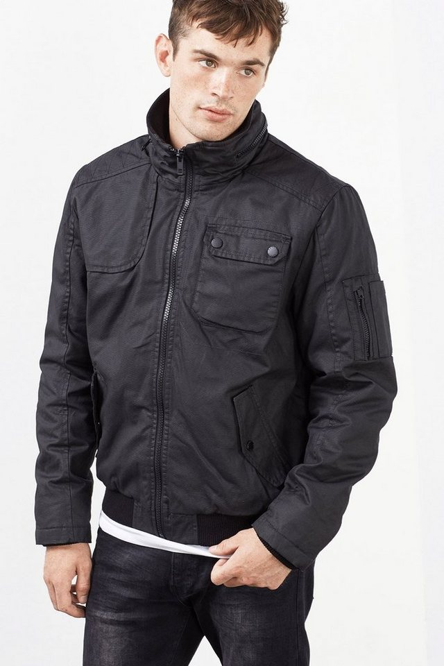 ESPRIT CASUAL Coated Baumwoll Jacke mit Wattierung in BLACK