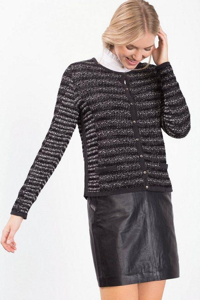 ESPRIT COLLECTION Streifen Mouline Struktur-Cardigan in BLACK