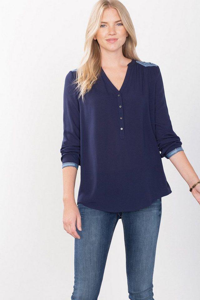 ESPRIT CASUAL Leichte Bluse mit Stickerei in DARK BLUE