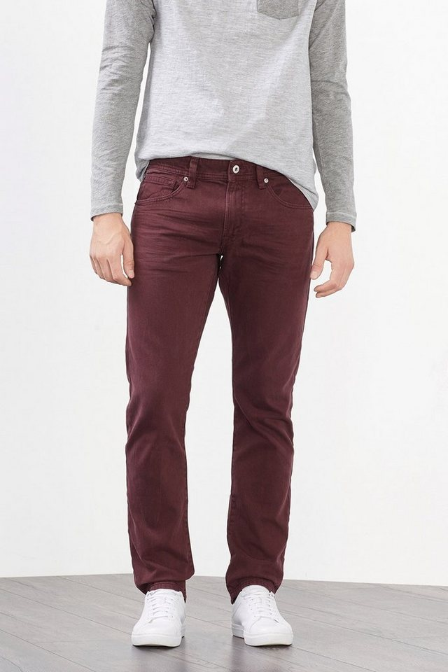 EDC Lässig überfärbte Non-stretch-Denim in BORDEAUX RED