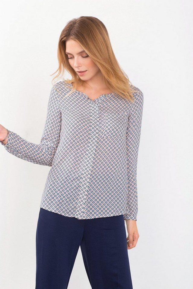 ESPRIT COLLECTION Fließende Print-Bluse aus 100% Viskose in OFF WHITE