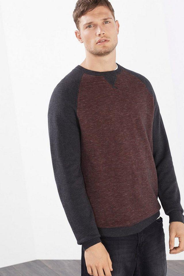ESPRIT CASUAL Colorblock Pullover, 100% Baumwolle in GARNET RED