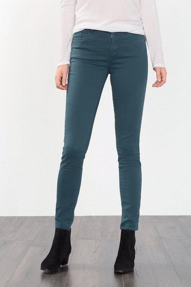 ESPRIT CASUAL Baumwoll-Stretch-Hose mit Zippertaschen in DARK TEAL GREEN
