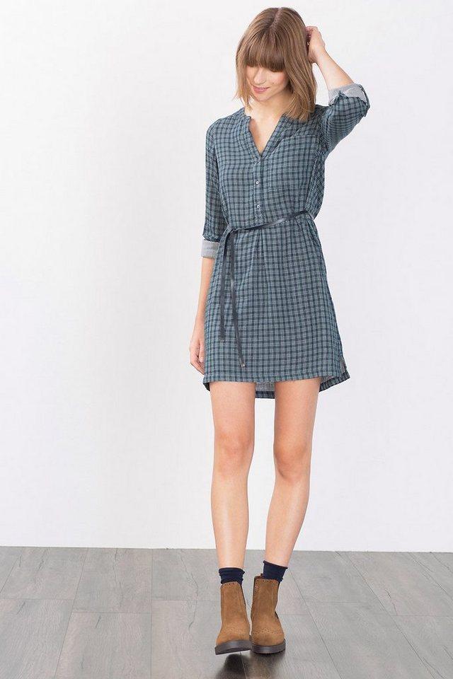 ESPRIT CASUAL Kariertes Kleid mit Gürtel, 100% Baumwolle in NAVY