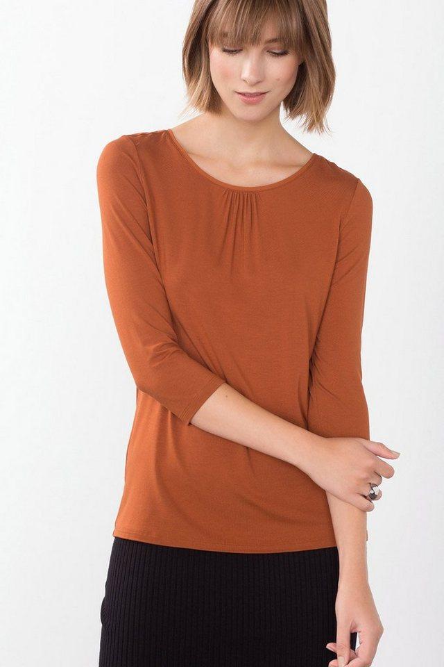 ESPRIT COLLECTION Viskose Jersey Shirt mit Akzent in TERRACOTTA