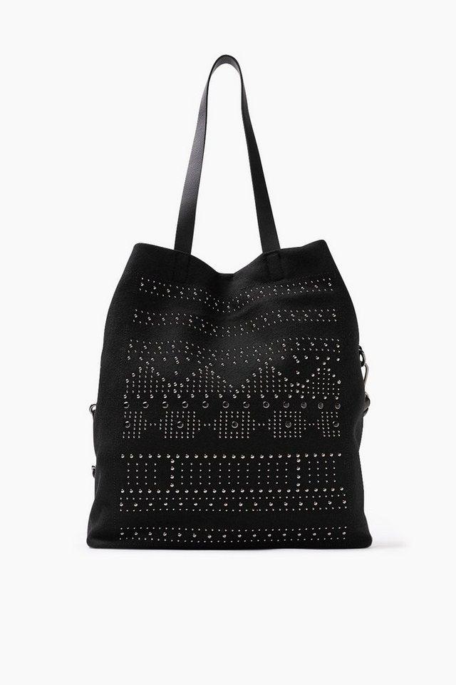 ESPRIT CASUAL Filz-Shopper mit Ornamenten aus Nieten in BLACK