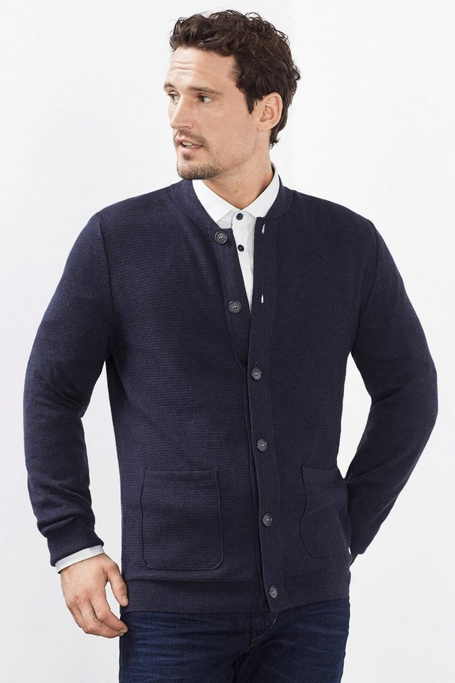 ESPRIT COLLECTION Baumwoll/Seiden-Cardigan mit Struktur in NAVY