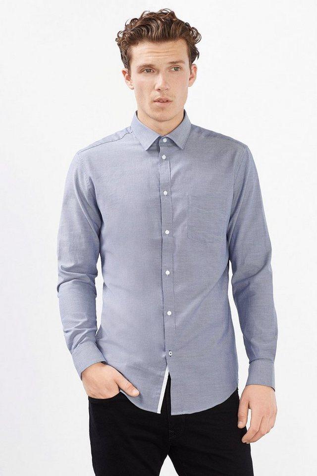 ESPRIT COLLECTION Hemd mit Struktur, 100% Baumwolle in DARK BLUE