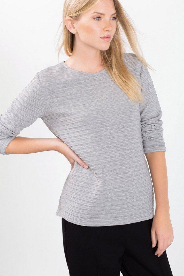 EDC Sweatshirt mit Struktur-Effekt in LIGHT GREY