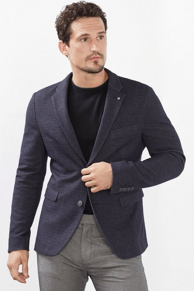 ESPRIT COLLECTION Strick-Blazer aus Baumwoll-Mix mit Stretch in NAVY