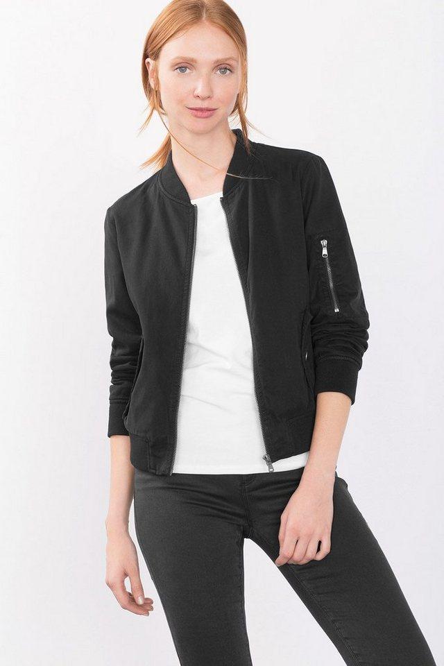 ESPRIT CASUAL Zipper-Blouson mit Bündchen in BLACK