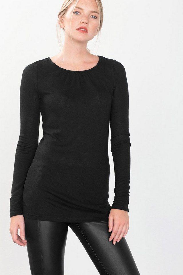 ESPRIT COLLECTION Wooly Viskose Shirt mit Zierknöpfen in BLACK
