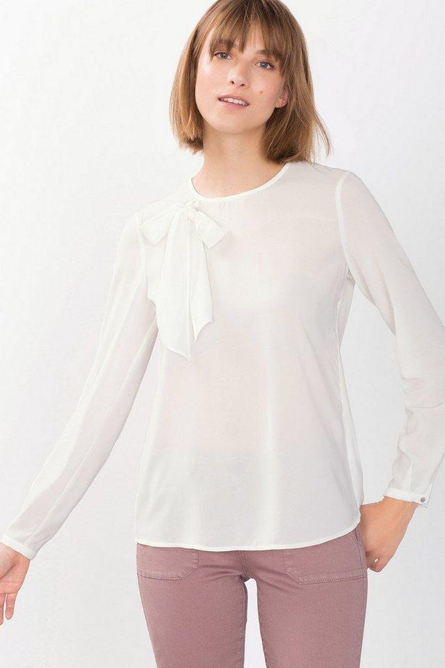 ESPRIT CASUAL Fließende Bluse mit Schleife in OFF WHITE