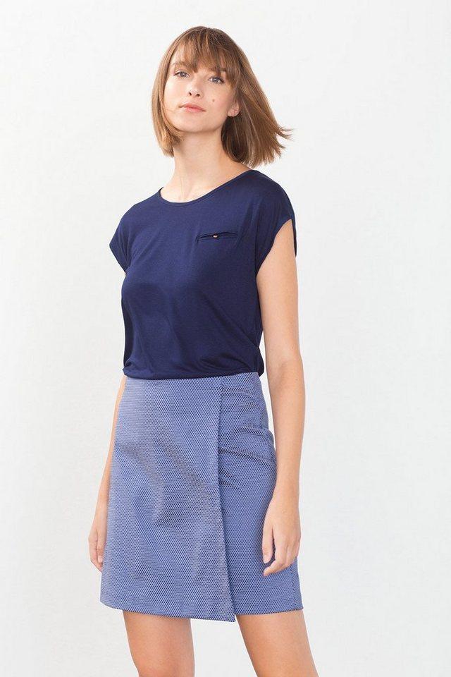 ESPRIT COLLECTION Fließendes Jersey-Shirt mit Satin-Kanten in NAVY