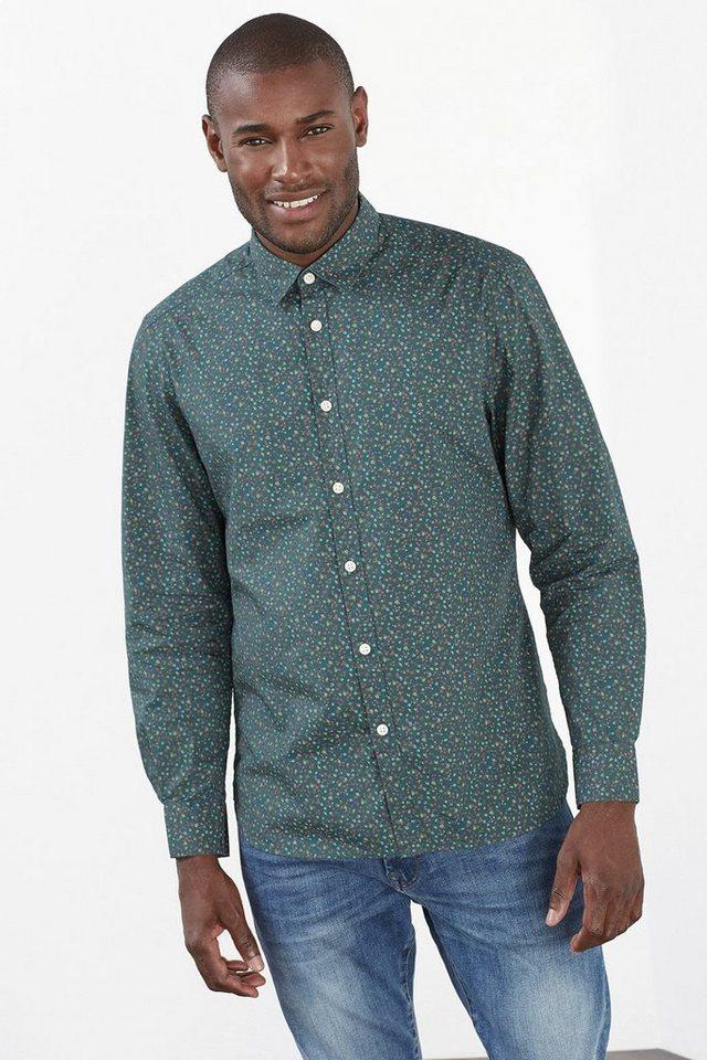 ESPRIT CASUAL Baumwollhemd mit Blüten oder Punkten in DARK KHAKI